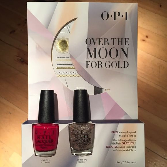 "OPI Over The Moon For Gold 2 polishes gift set ✨Brand new opi gift set! ✨ Includes 2 full size beautiful colors: Love Is In My Cards, and Ce-less-tial Is More. ""Love Is In My Cards"" is a buttery true red creme and this one is perfect. ""Ce-less-tial Is More"" has silver and rose gold small and microglitters plus shimmer in a clear base.  This is also a sparkling beauty that gets to opacity in 3 coats. Free with package: jewelry inspired metallic tattoos!  Opi Accessories"