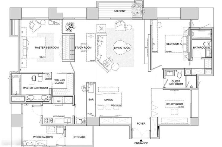 plan de maison avec décoration asiatique moderne