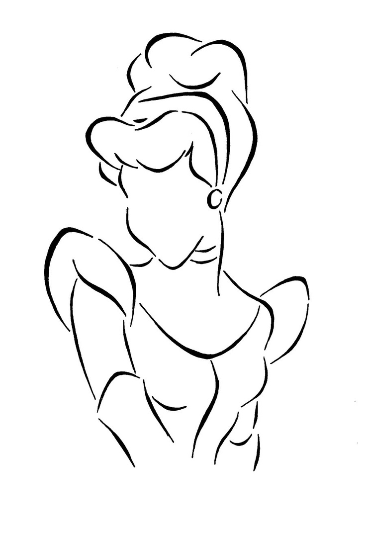 Cinderella Lineart by Kezzamin.deviantart.com on @deviantART   (Stencil for lamp shade)
