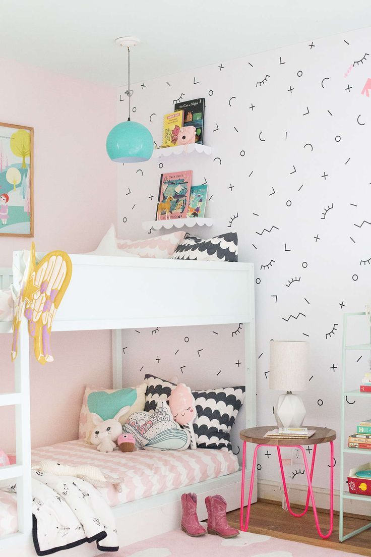 DIY risers for Ikea bunk beds in shared girls room