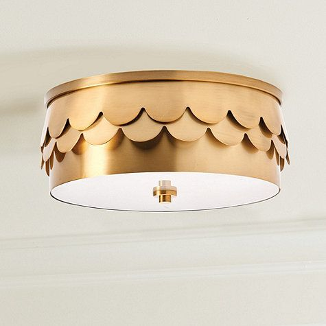 The drum shape allows our Suzette Ceiling Mount to hang flush, so it's especially good for lower ceilings. A double row of scallops adds layers of texture while the frosted tempered glass diffuser softens the light. Suzette Ceiling Mount features:Brass finish2-light fixtureStepped cylindrical finialMetal