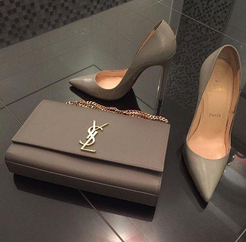 ysl bag with pump heels