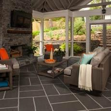 The big-block basketweave design on this porch floor looks like tile, but it's really low-cost paint on cement. Get the look with our easy step-by-step instructions.   Photo: Deborah Whitlaw Llewellyn   thisoldhouse.com