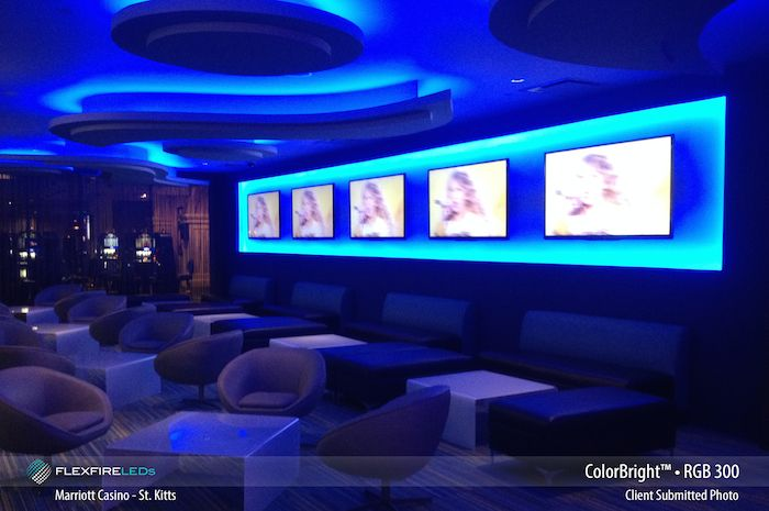 Color changing LED strip lights at the St. Kitt's Marriott Casino