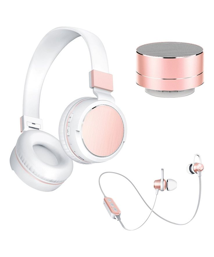 Take a look at this Rose Gold 3-Pc. Speaker & Headphone Set today!