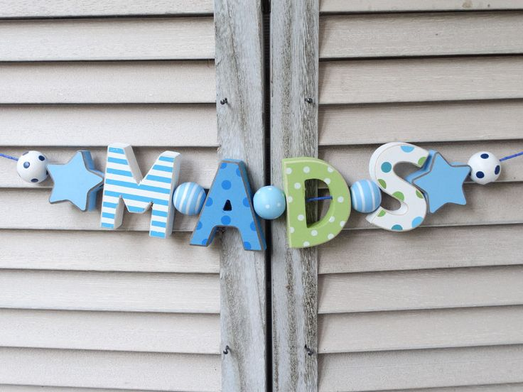 """MADS"" WOODEN DOOR SIGN PLAQUE BABY SHOWER GIFT NURSERY DECOR NAME PERSONALIZED  #NostalgieSpiel"