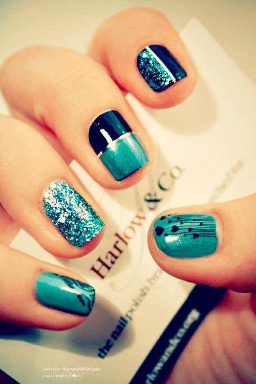 Gorgeous nails. #Turquoise #Navy #Silver #Sparkle