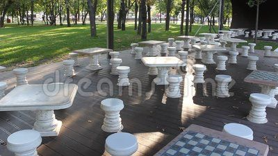 Architectural chess in the park - arranged place to play chess.
