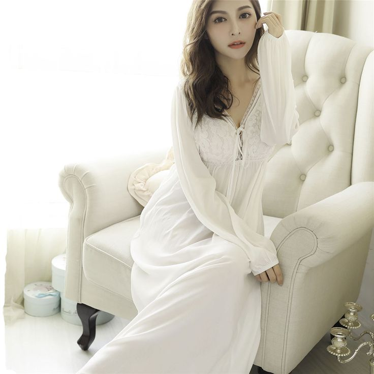 Retro Royal Princess Nightgowns Spring Autumn Sexy V-Neck Lace Cotton Long Nightdress Long-Sleeved Sleeping Dress Female #Affiliate