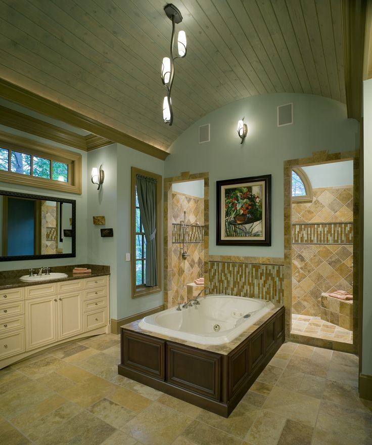 Master bathroom with a walk-in shower right behind the center bathtub. You don't see showers with no doors like that, but when it is that big, why close it off? Anyone think this bathroom is too big?