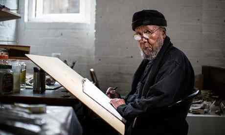 """El-Salahi. """"The penalty for being caught with writing materials was solitary confinement. But I kept working, drawing on scraps I buried in the ground."""""""