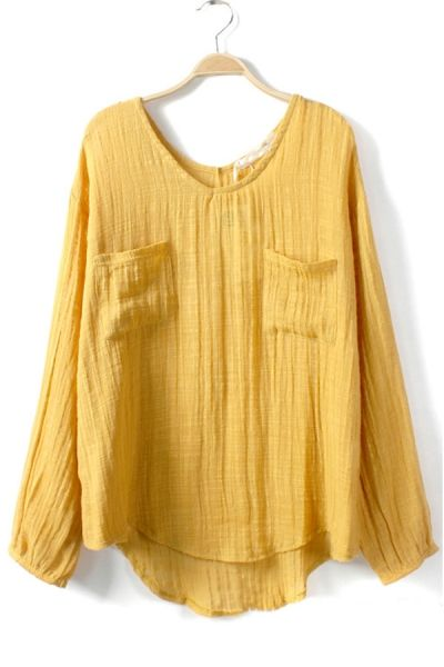 Chest Double Pockets Long Sleeve Blouse OASAP.com