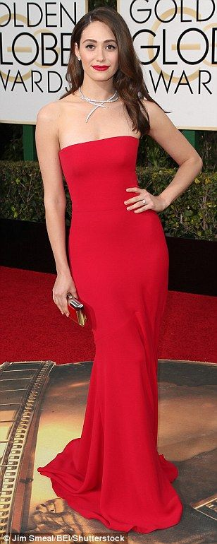 Bright and beautiful: (L-R) Emmy Rossum, America Ferrera and Joanne Froggatt went for colo...