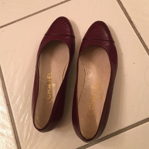Chanel flat shoes Authentic Chanel Flats Shoes. Soft leather. Burgundy color. Made in Italy CHANEL Shoes Flats & Loafers