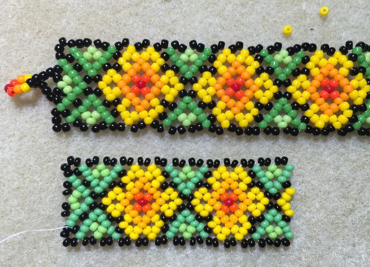Top: Mixed beads from bead shop, 11/0 size Bottom: Preciosa 11/0 Rocaille seed beads