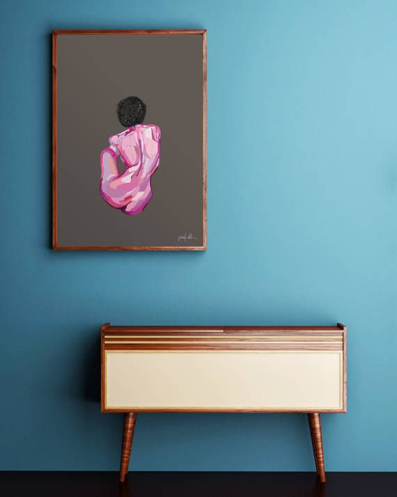 """Female figure art Figure painting Nude art Pink art print USE THE CODE """"PINTEREST"""" TO RECEIVE 30% OFF!"""