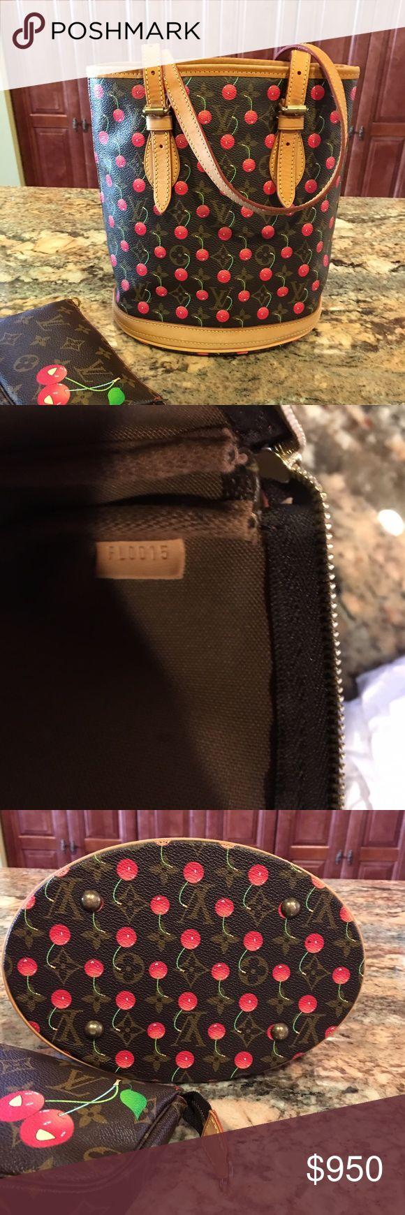 Authentic Louis Vuitton Cerises bucket bag Authentic Louis Vuitton Cerises bucket bag. Excellent condition. Light honey on the vachetta. No torn or damage. Come with detachable pochette only. Louis Vuitton Bags Shoulder Bags
