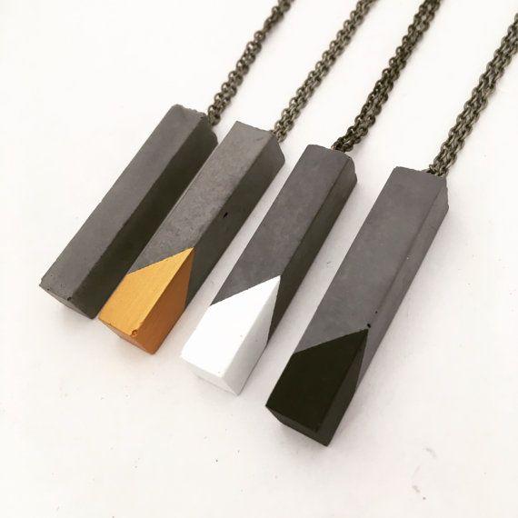 Geometrische konkrete Quader Anhänger Halskette