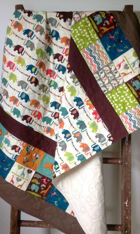 Baby quilt organic quilt modern safari soiree elephant for Safari fabric for nursery