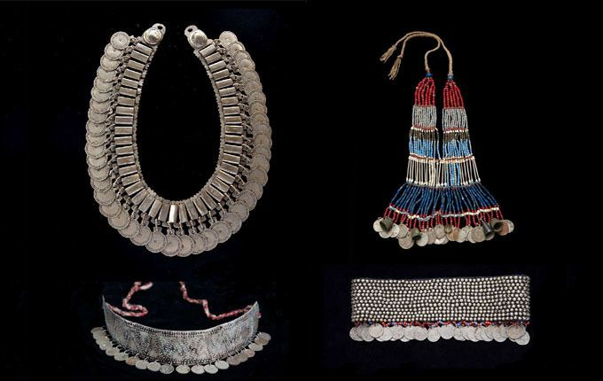 La Pampas (Argentina) Adornment/Jewellery, 19th Century. || a) Trarilonkos; silver and coins. | b) Choker; Silver. | c) Llankatu Pectoral; beads, coins and thimbles.