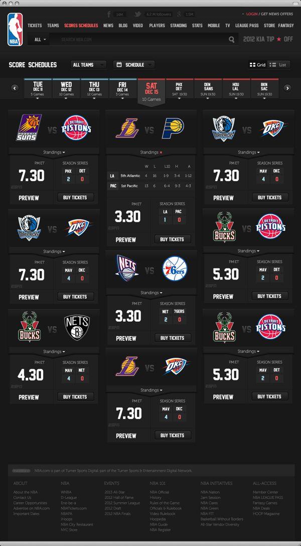 NBA .com Concept UI Design ( Personal Project ) by Berkan Is, via Behance