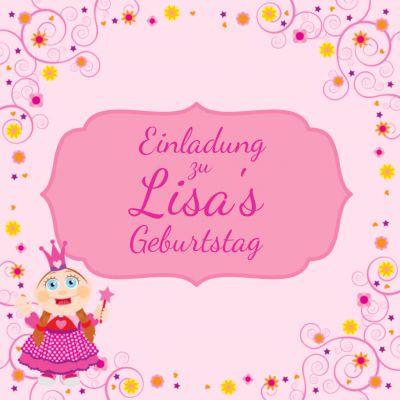 Süße Prinzessin Einladungskarte Zum Geburtstag In Rosa Für Mädchen