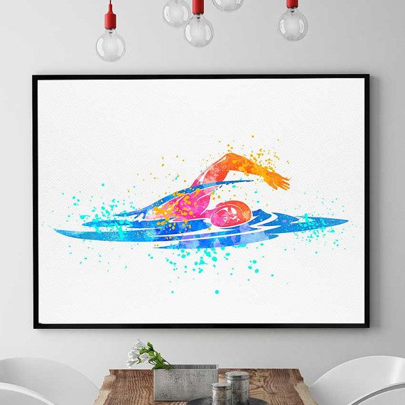 Swimming Pool Art Swimming Gift Watercolor Print Sports Decor