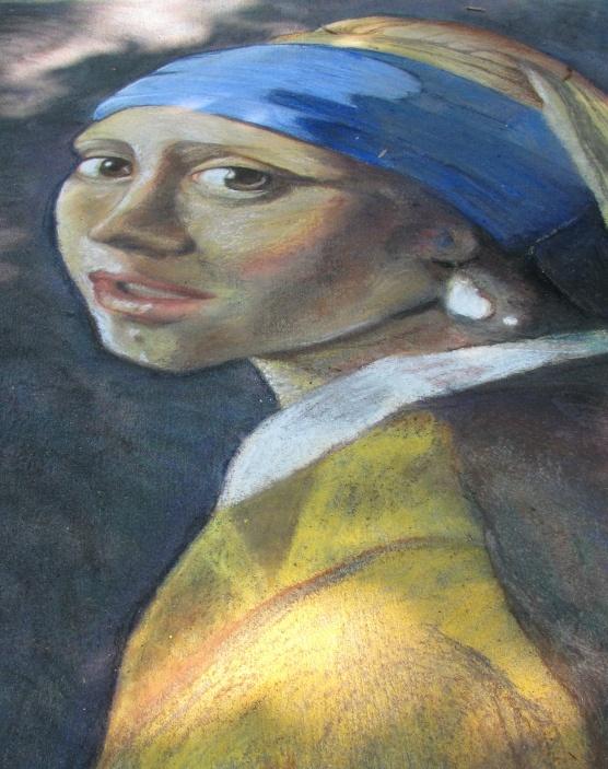 Girl w/Pearl Earring chalk art