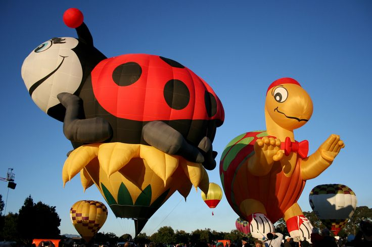"""""""Lucy the Ladybug and Mister Bup"""" hot air balloons at Balloons Over Waikato, 2009 - photo by Jaime Carter, via Flickr; New Zealand"""
