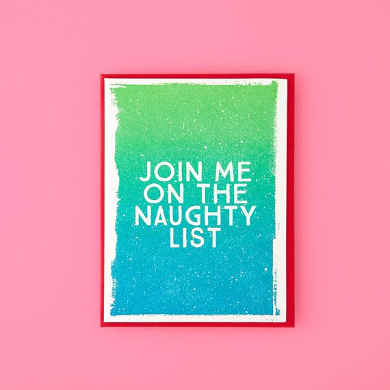 ON SALE // Join Me On The Naughty List Letterpress Christmas