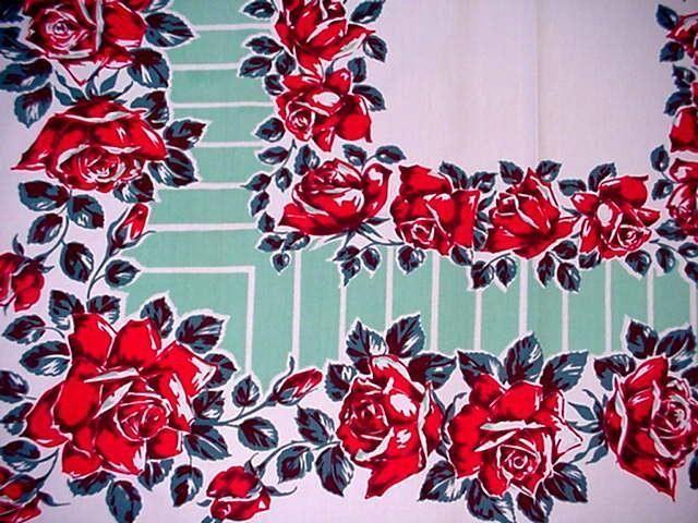 Vintage 50's Red Rose Large Tablecloth Midcentury Aqua Linear Modern Floral Nice | eBay