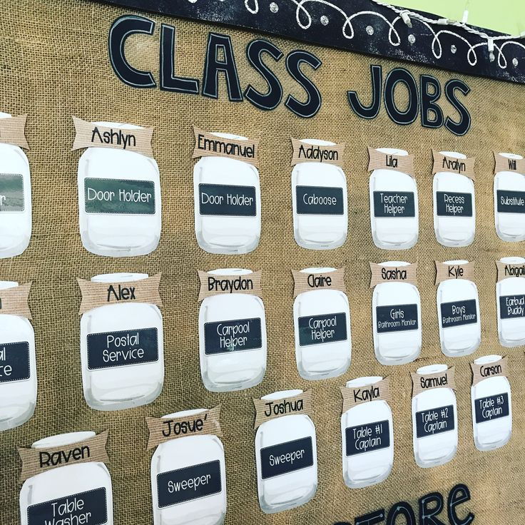 Editable Mason Jar Class Jobs Display