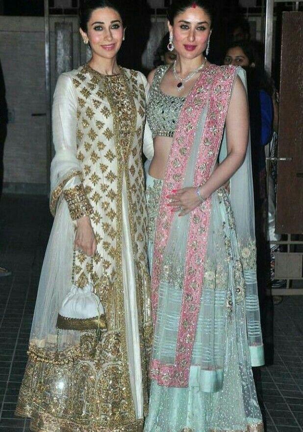 Karishma Kapoor and Kareena Kapoor in Manish Malhotra outfits.