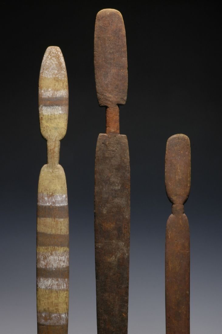 This set of three spear-throwers comes from Australia's Western Desert