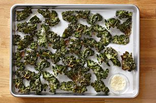 Krunchy Kale Chips - Commenters suggest using less oil and adding red pepper flakes/other seasonings.