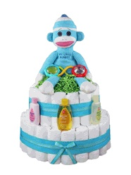 """""""My Little Teal Monkey"""" Diaper Cake    How's this for cute monkeys? An adorable teal TY Sock Monkey sits on top of 75 Pamper Swaddler diapers along with a few other new baby boy essential gifts!"""