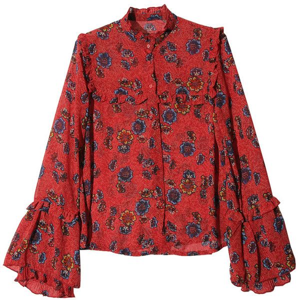 Retro Printed Stand Neck Lantern Sleeve Chiffon Shirt (€88) ❤ liked on Polyvore featuring tops, shirt top, red top, red chiffon shirt, retro tops and retro shirts