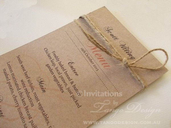 menus with jute cord by www.tangodesign.com.au #menu wedding ideas rustic #rustic dinner menu