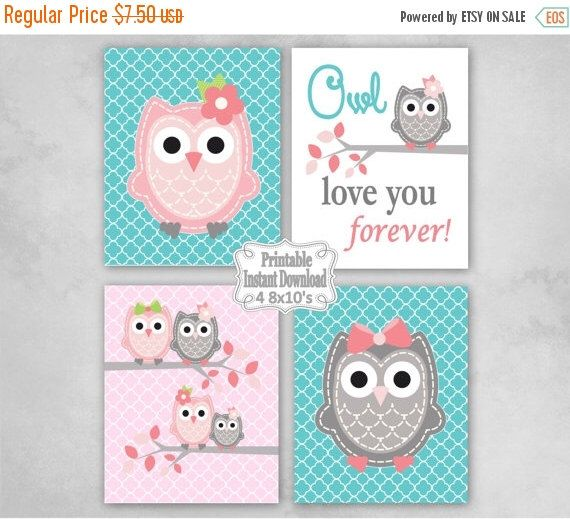 SALE Printable Owls Baby Nursery Wall Art Decor in Pink Turquoise Grey Owls Baby Girl Infant Child Kids ~ DIY Instant Download ~ 4 8x10 Prin by GinaMariePrintables on Etsy https://www.etsy.com/uk/listing/252056163/sale-printable-owls-baby-nursery-wall