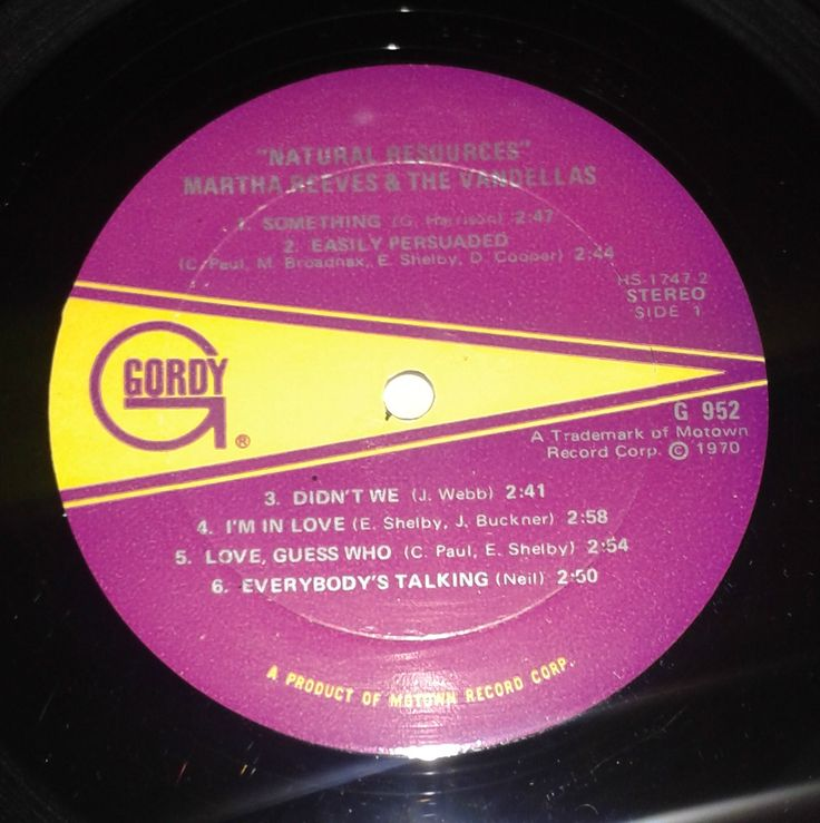 Martha Reeves & The Vandellas, Natural Resources original lp label