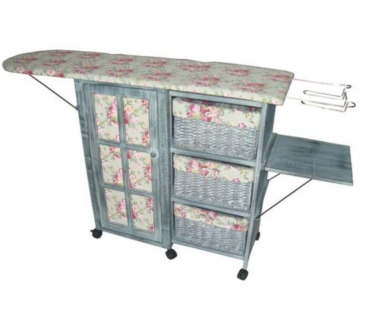 Victorian Chintz & Dove Grey Laundry Room Ironing Board Storage Cart Station #VTC