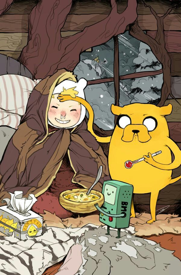 Cosy times.   Finn, Jake and Beemo   Adventure time