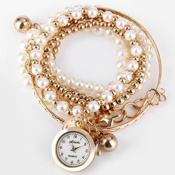 b1fa4859bfe Relógio Pulseira Feminino com Mostrador Redondo Pingente Multilayer -  DOURADO