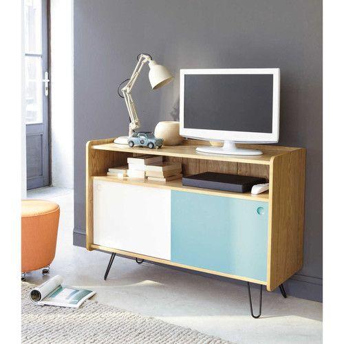 Meuble TV vintage en bois blanc et bleu L 105 cm