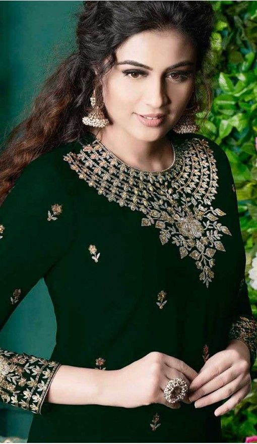 ccd8822f739 Forest Green Color Georgette Pakistani Style Palazzo Suit