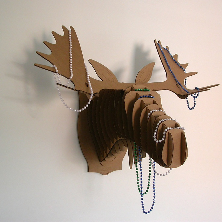Fred (Moose Trophy Head) Each trophy is made from recycled cardboard, a non-toxic, environmentally friendly product.
