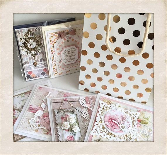 A beautiful collection of 6 greetings cards each measuring approximately 145mm square that come with a white and gold gift bag and the option of a personalised gift tag for the bag. Every card is unique, 4 have been created in the popular Shabby style and 2 in the Retro style,