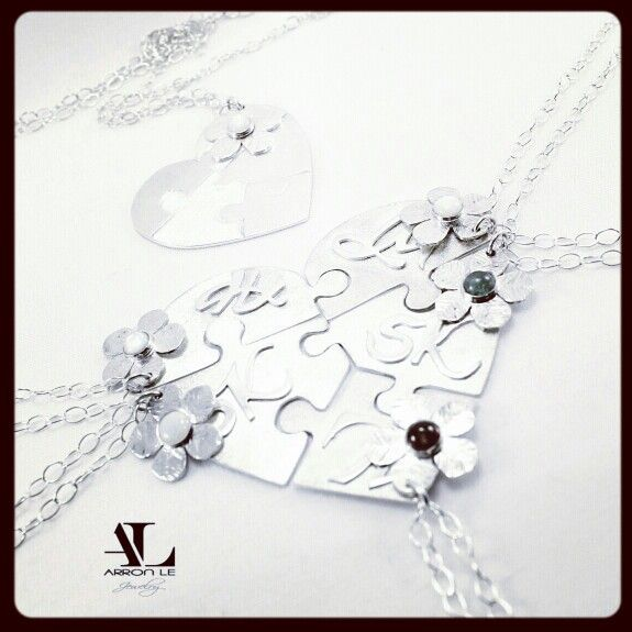 Bridesmaid gift. Custom Heart puzzle pendant. Arronlejewelry@gmail.com