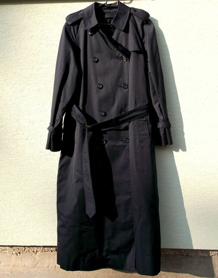 BURBERRY Trench Coat ladies L Navy Blue long England Burberrys Prorsum Lined