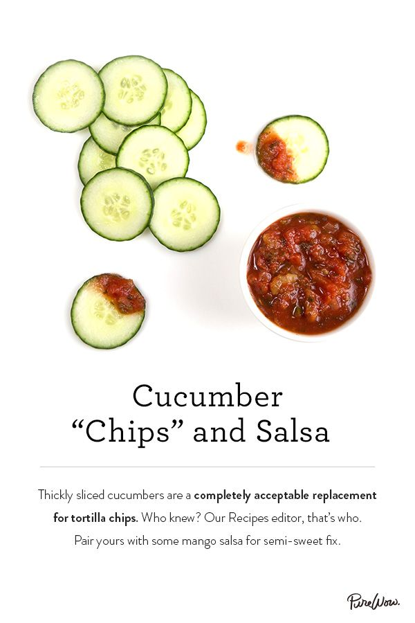 Cucumber Chips and Salsa. Skip the tortilla chips and use thick cucumber slices instead. Pair yours with some mango salsa for a semisweet fix. Perfect for parties, kids snacks and everything in between.